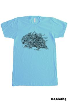 American Apparel Mens T shirt  PORCUPINE  Navy S M by Inaprinting, $19.00