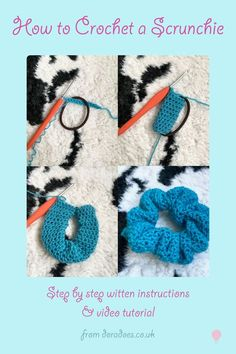 Free written crochet pattern and video tutorial showing how to make a crochet scrunchie crochet scrunchie crochetscrunchie scrunchietutorial crochettutorial crochethowto scrunchielover freecrochetpattern freepattern scrunchiepattern howto stepbystep Crochet Diy, Crochet Gratis, Crochet Amigurumi, Tutorial Crochet, How To Crochet, Amigurumi Tutorial, Crochet Tutorials, Amigurumi Patterns, Crochet Ideas