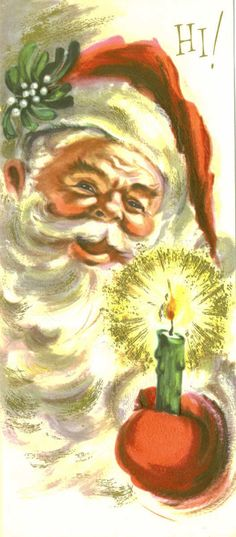 Christmas Card, Vintage Santa Claus with Glowing Candle, Hi!, Unused