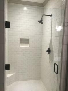 Master shower with Nanda soft white subway tile