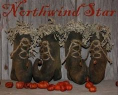 Halloween Primitive Witches Boots Ornies Bowl Fillers
