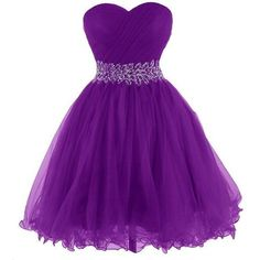 Dresstells Women's One Shoulder Prom Dresses Homecoming Dress with... ❤ liked on Polyvore featuring dresses, one sleeve dress, beaded dress, cocktail prom dress, purple dress and one shoulder cocktail dress