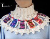 """Col-chauffe épaule Tricotcolor tricoté à la main en laine """"Feu d'artifice"""""""