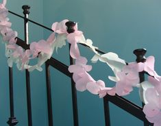 cherry blossom Garland on Stair Rail