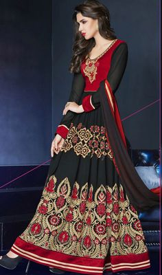Attract the spotlight among the crowd owning this black and crimson georgette floor length Anarkali suit. Beautified with resham and stones work. #EveningWearCollection