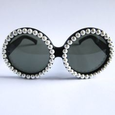 OH Circle Frame Sunglasses in Black Lenses with Pearls via Etsy