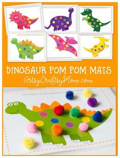 Kids love games; it's how they learn! Develop your child's color recognition & fine motor skills with a matching game using Printable Dinosaur Pom Pom Mats.