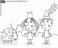 Ben, Holly and Gaston, three great friends in the little kingdom coloring page