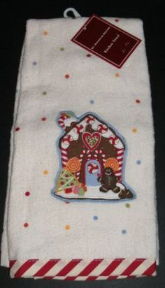 St Nicholas Square Kitchen Towel Gingerbread House and Polka Dots **NEW**