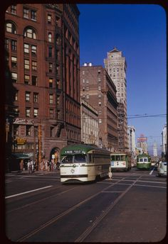 Streetcars on Market Street northeast from 3rd Street San Francisco (1953) Indiana University Archives, Charles W. Cushman Photograph Collection