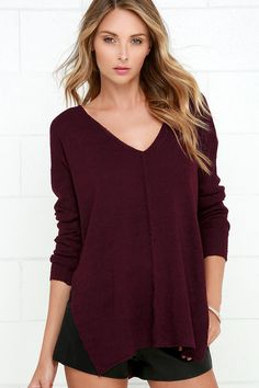 Grab your closest friends and head somewhere exciting in the All Together Now Burgundy Sweater
