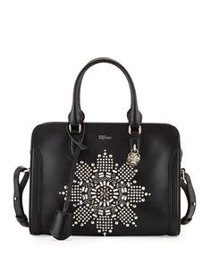 Skull Padlock Crystal-Embellished Small Satchel Bag by Alexander McQueen at Bergdorf Goodman.