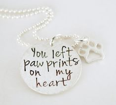 You Left Paw Prints on my Heart Hand Stamped Necklace by Studio463, $72.00