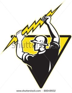 illustration of an electrician power lineman holding electric lighting bolt set inside triangle on isolated background done in retro style.. - stock vector #electrician #retro #illustration