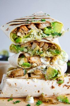 Also check . CHICKEN AVOCADO BURRITOS By: . Burritos stuffed with juicy chicken, cool and creamy avocado, oozy gooey melted cheese, spicy salsa verde and sour cream! Avocado Toast, Chicken Avocado Wrap, Chicken Avacado Burrito, Chicken Wrap Recipes, Easy Wrap Recipes, Avacado Meals, Healthy Chicken Burrito Recipe, Avocado Chicken Recipes, Vegetarian Recipes