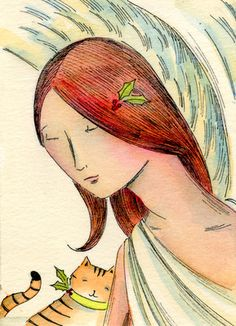 ACEO PRINT - Comforted by my angel- tabby cat, pets, spiritual, woman, wings