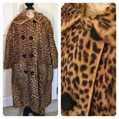 Vintage Leopard coat Fun fun fun!  No idea of fabric content (real or not?) and there are wear spots throughout as pictured ( think it adds to vintage look!). Cool collar. Priced to sell.  No size tag - see measurements - fits like M/L. Vintage Jackets & Coats