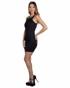 7e16a3af8ed4 SLEEVELESS EMBELLISHED NECK SHORT DRESS WITH BACK ZIP DETAIL - - 1. Glamline  TT