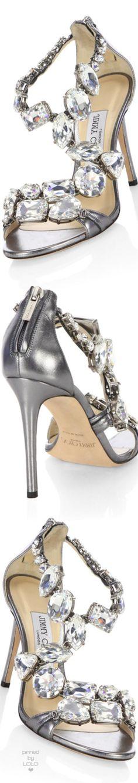 Jimmy Choo KARIMA 100 Steel Metallic Nappa Leather Sandals with Crystals