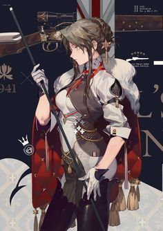 Lee-Enfield from Girls' Frontline by Ju Rei Fantasy Characters, Female Characters, Anime Characters, Character Concept, Character Art, Animation Character, Persona Anime, Lee Enfield, Anime Military