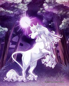 Princess Mononoke by Yuuza on DeviantArt The Last Unicorn, Unicorn Cat, Purple Unicorn, Magical Creatures, Fantasy Creatures, Beautiful Creatures, Fantasy Beasts, Fantasy Art, Pegasus