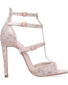 Carvela Kurt Geiger Subtle Pink 'Gaye' All-over Crystal Embellished-microsuede Heeled Sandals