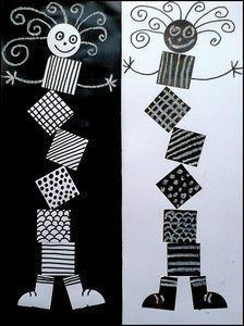 MB-BB. De kinderen tekenen een blokkenmannetje. in de blokken van het mannetje kommen verschillende patronen.