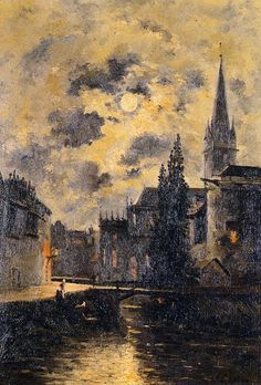 "Stanislas Lepine (1835-1892) - ""A Moonlit Canal"""