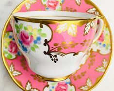 Salisbury Hot Pink Gold Scroll Floral Antique Tea Cup and Saucer