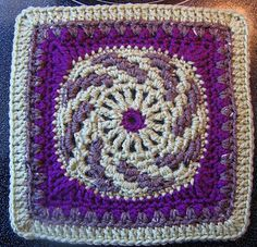 "Spiralling into Spring March Mystery 9""/12"" Afghan Block Square ~ free pattern ᛡ"