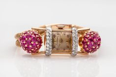 Antique 1940s Retro MOVADO 3ct Ruby Diamond 14k Gold Platinum Ladies Watch