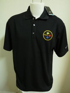 376fe058d NEW Sz L Black NIKE Pittsburgh Steelers DRI-FIT MENS Polyester  912 Polo  Shirt