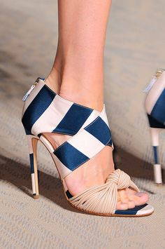 Blue Striped Heels