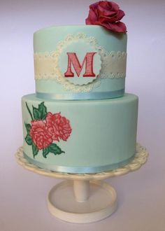 Would be pretty for a wedding cake too! - Painted cake
