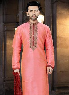 Pink Embroidered Kurta Pyjama