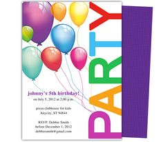 Kids Party Templates : Balloons Kids Birthday Party Invitations Template. Printable DIY, easy to edit and print.