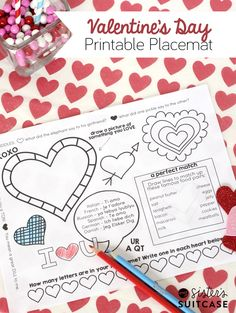 Printable Placemat for Kids to color + other printables for a fun Just for Kids Valentines Dinner!