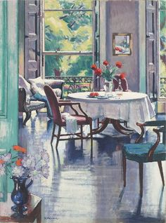 """Interior, Summer"" By Francis Campbell Boileau Cadell RSA RSW (British, 1883-1937) oil on canvas; 32 x 22 in © Sold through Portland Gallery, London, UK http://www.portlandgallery.com/ https://www.facebook.com/pages/Portland-Gallery/429777620492943 Artist Biography http://www.portlandgallery.com/artist/F_C_B_Cadell/bio"