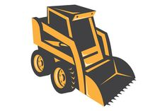 vector illustration of a skid steer digger truck done in retro style. The zipped file includes editable vector EPS, hi-res JPG and PNG image.