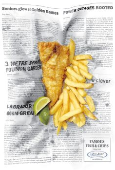 "Ocean Basket Restaurant newspaper ad reminds me of living back in England and picking up ""fish and chips"" and getting pretty much this."