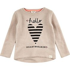 Mini girls brown heart print sweater