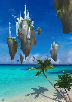 Flying City by Jean-Guilhem Barguès on ArtStation. Fantasy Art Landscapes, Fantasy Landscape, Landscape Art, Fantasy Places, Fantasy World, Fantasy Concept Art, Futuristic City, Alien Worlds, Fantasy Setting