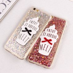 For iPhone 7 Case Glitter Bling 3D Ice Cream Pattern Back Cover Case For iPhone 6 6S 7 Plus 5 5s SE Phone Bags Protective Fundas