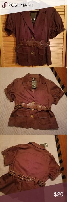 NWT short sleeve top!! Brand new coffee bean color short sleeve top with belt! Very nice piece to add to your wardrobe. Adorable!! D.F.A Tops Button Down Shirts