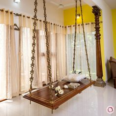 We added a classic contemporary style jhula in the for our client, Mrs. Aparna's home. :) It's lovely,… Ethnic Home Decor, Indian Home Decor, Home Swing, Patio Swing, Indian Interior Design, Hall Interior, Pooja Room Door Design, Indian Living Rooms, Wooden Swings