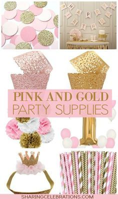 Pink and Gold Party SuppliesBelow you'll find lots of glittery gold and pastel pink party supplies! There's pink and gold party favors, decorations, gifts, and more. Pink Gold Party, Pink And Gold Birthday Party, Baby Girl 1st Birthday, 18th Birthday Party, Golden Birthday, Birthday Party Themes, Birthday Ideas, Sparkle Party, Decoracion Baby Shower Niña