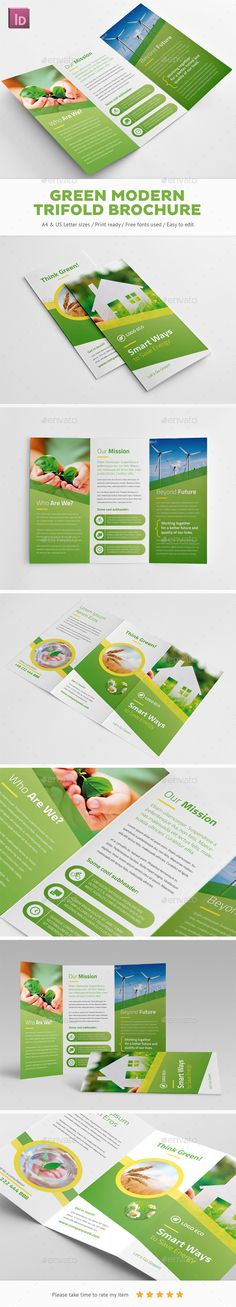 Green Modern Trifold Brochure Template InDesign INDD. Download here: https://graphicriver.net/item/green-modern-trifold-brochure/18923483?ref=ksioks