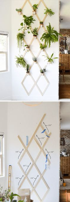 Best DIY Indoor Plant Wall Projects & Ideas For 2020 Looking for a diy indoor plant wall ideas? These are creative guide will help you step by step building an indoor plant wall. - DIY Wood and Leather Trellis Plant Wall Plant Wall Diy, Indoor Plant Wall, Hanging Plant Wall, Diy Hanging, Indoor Plants, Indoor Gardening, Diy Wand, Cool Diy, Wall Trellis