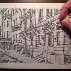 urban sketching New York Townhouse by Josiah Hanchett @jdhanchett   Websta