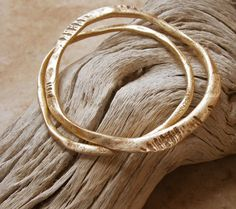 Pair of Earthy, Organic Bronze Bangle Bracelets || Note: source no longer available...